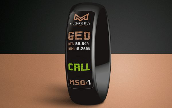 McGreevy Construction re-brand project. We developed an On-Site Portable Communication device wearable on the wrist. #Airbornecreative #Mcgreevy