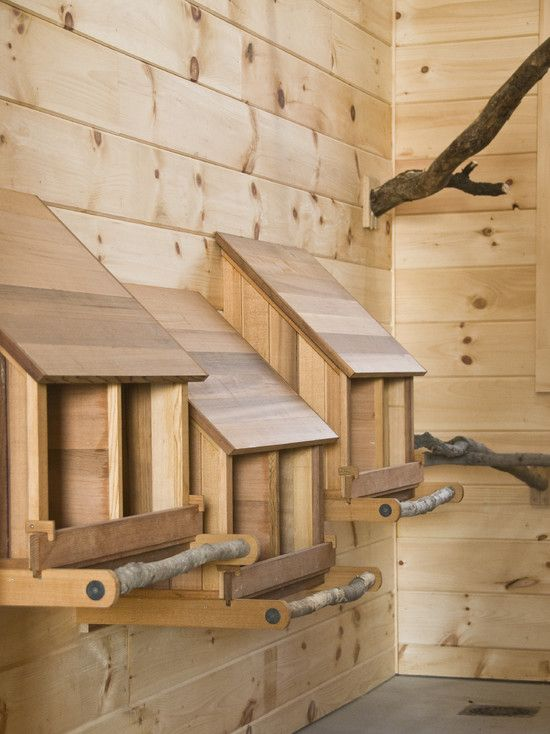 Great Idea for nesting boxes! Free branches as a perch to access the box, and a heavy slope so the chickens can't poop on the top of the box. Clean and Functional!