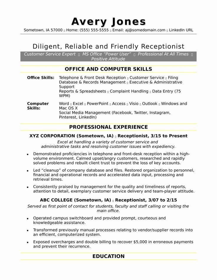 Front Desk Job Description Resume Beautiful Receptionist