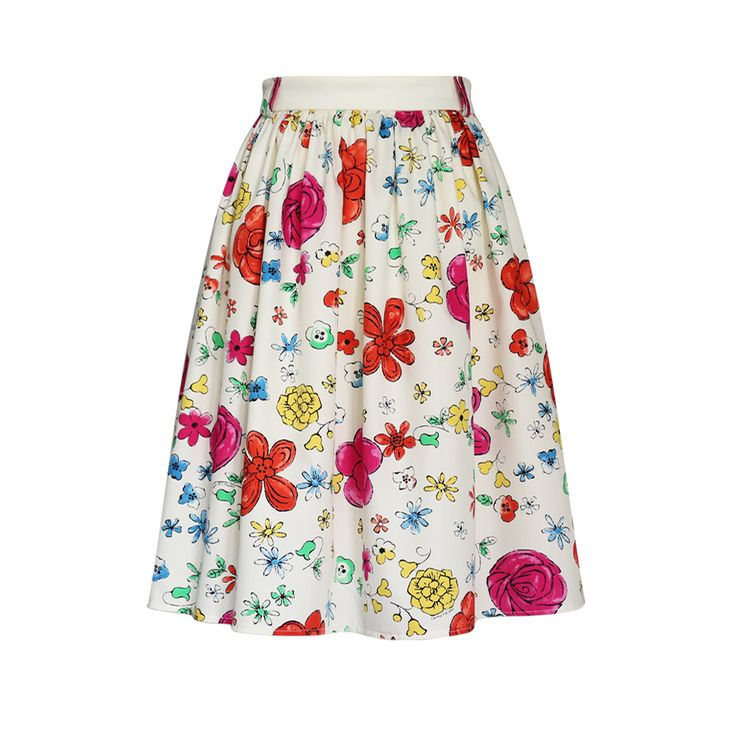 Spódnica na lato, marszczona na pasku. Lekka zwiewna tkanina bawełniana w kolorowe kwiaty. Skirt Story