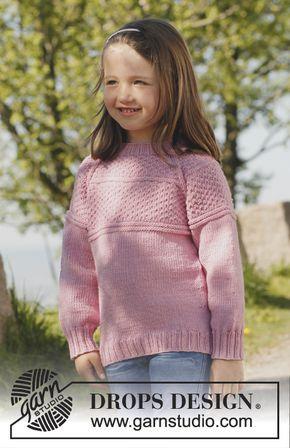 Gebreide DROPS trui met raglan, van boven naar beneden gebreid van Merino Extra Fine. Maat 3 tot en met 12 jaar.  Gratis patronen van DROPS Design.