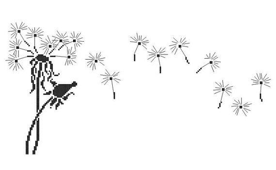 Dandelions Silhouette, Flowers Silhouette Pattern, Cross Stitch Plants Pattern, Silhouettes, PDF - PATTERN ONLY