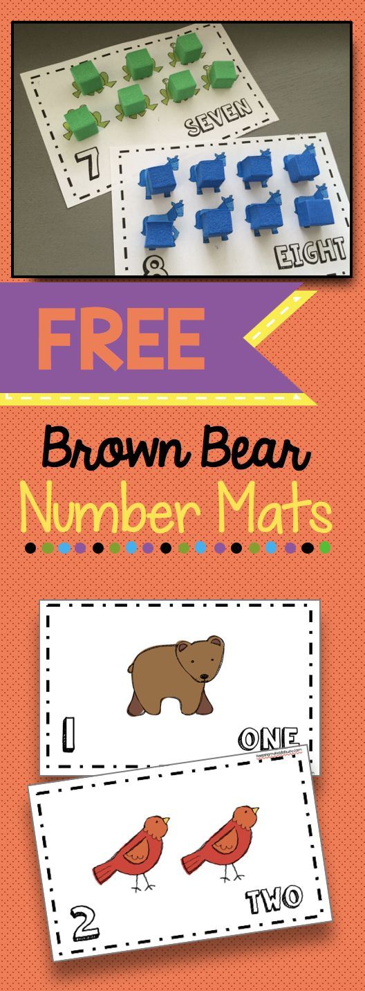 Brown Bear Number and Counting Mats - FREE printable math center! Perfect for kindergarten counting and cardinality - preschool or pre-k classroom.