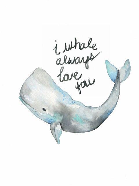 Wal-Kunst, ich Wal immer liebe dich, Aquarell Print, Aquarell Strand Strand Print, Kinderzimmer Wandkunst, Aquarell Wal Malerei