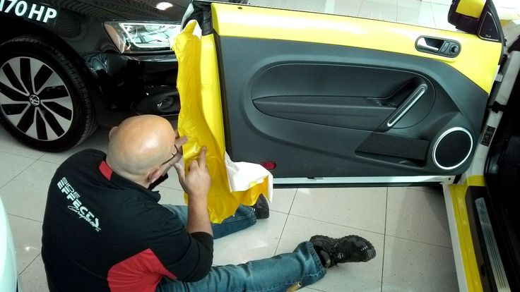 Yellow wrap film being installed.