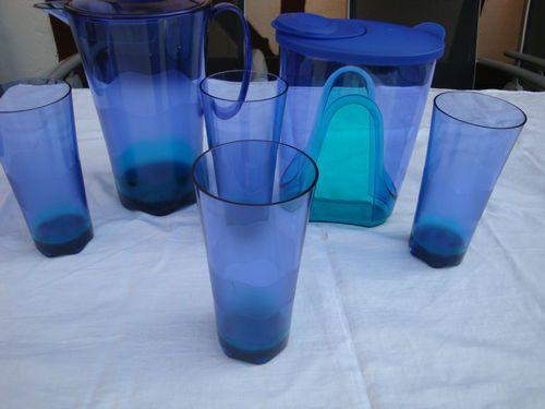 2 Tupperware Eleganzia Kannen 1,6l + 2,0l & 4 Eleganzia Becher 475ml Türkis/Blau | eBay
