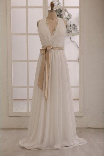 Modern Sexy A-line Deep V-neck Backless Sash Chiffon Wedding Dress Custom-made (12, Ivory) Lemandy http://www.amazon.co.uk/dp/B00GICEHDK/ref=cm_sw_r_pi_dp_Evkiwb0KR6CED