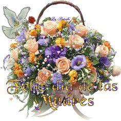 Frase Feliz Dia de la Madre junto a una canasta llena de rosas preciosas, corazones y una palomita blanca en movimiento