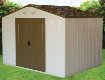 duramax 105 x 8 westchester double wall outdoor vinyl storage shed w foundation