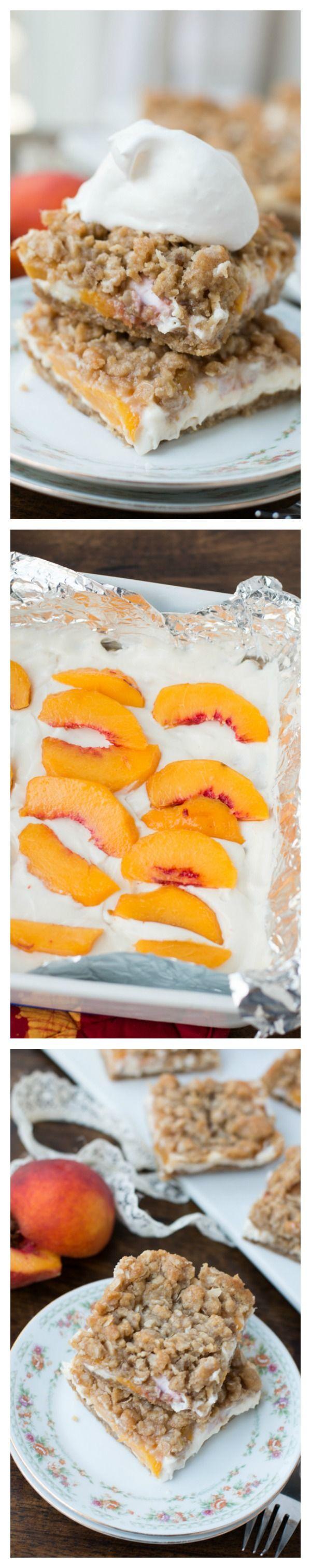 peaches and cream crumble bars! ohsweetbasil.com