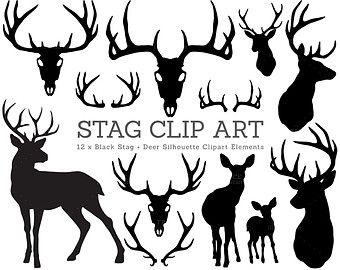 Stag Silhouette Deer Christmas Clip Art. Antlers, Skull, Bambi, Silhouette Clipart. Xmas Craft Scrapbook. Digitally Handdrawn Illustration.