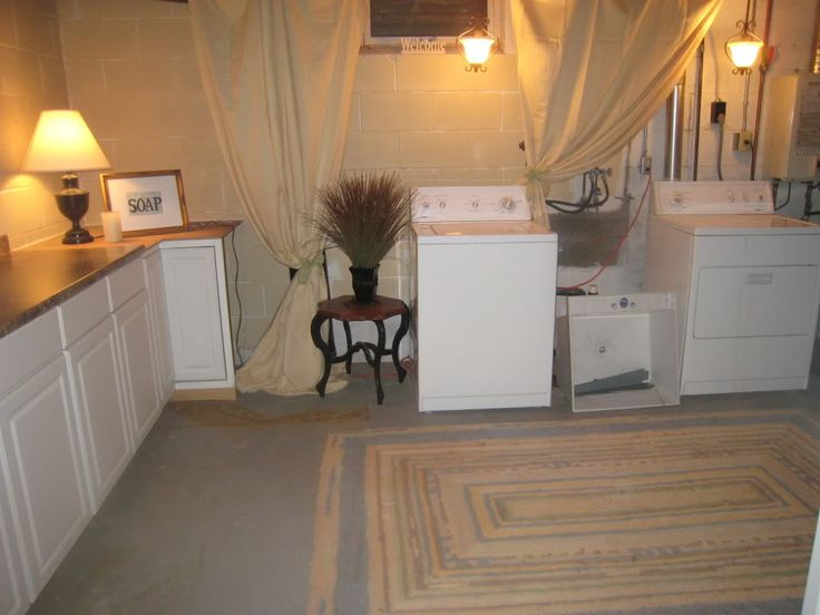 Ideas for Unfinished basement laundry, spruced up a little. Great idea for rentals or for low budget.
