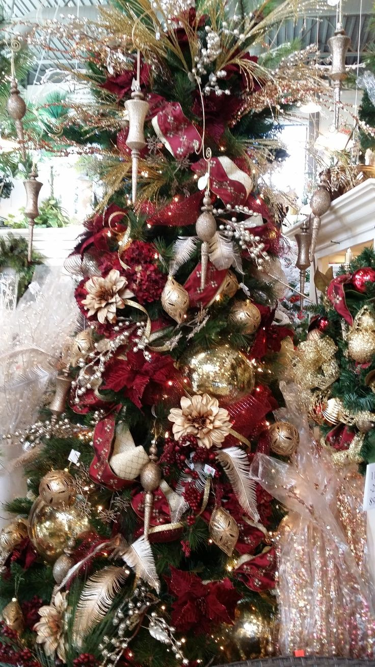 Christmas tree decor red and gold - Burgundy And Gold Christmas Tree Ideas Www Silkscapesindiana Com
