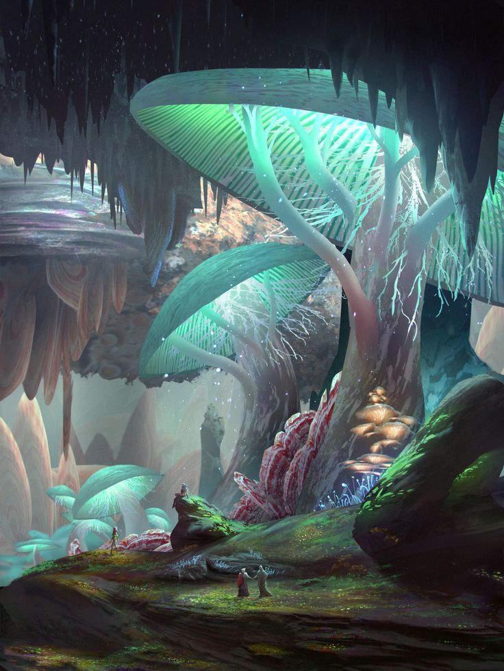 Iz'Kal Caverns by JamesCombridge | magical place scenery | fantasy art - places | fairy forest #magicalPlace | giant mushrooms