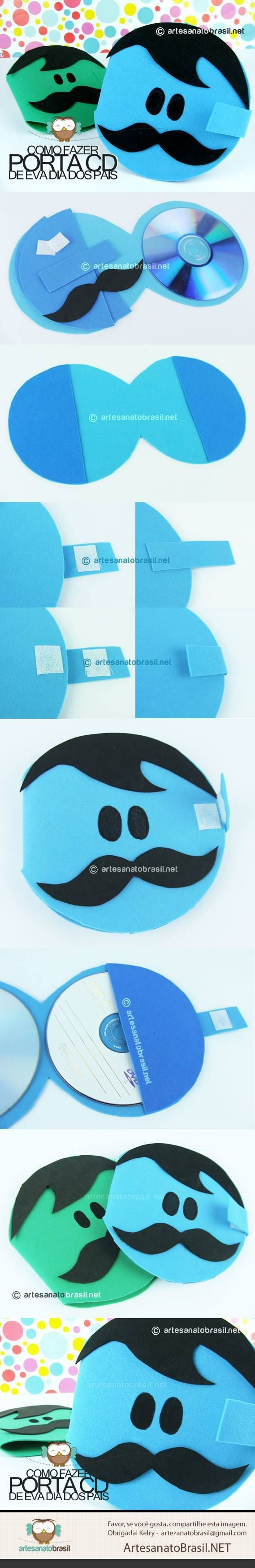 Porta CD de EVA #reciclagem - http://artesanatobrasil.net/porta-cd-de-eva-para-o-dia-dos-pais/