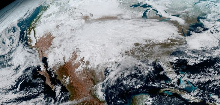 This image clearly shows the significant storm system that crossed North America that caused freezing and ice that resulted in dangerous conditions across the United States on January 15, 2017. GOES-16 will offer 3x more spectral channels with 4x greater resolution, 5x faster than ever before. (NOAA/NASA)