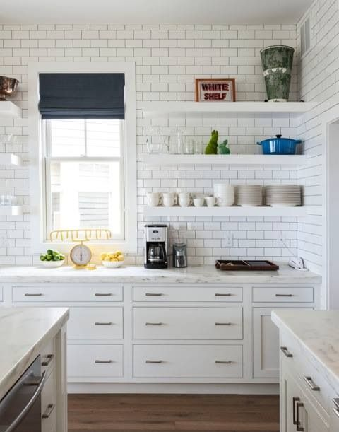 An unbelievably cool house to copy cabinets roman shades and white subway tiles - Subway tiles in kitchen pictures ...