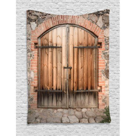Rustic Tapestry, Wooden Door of a Stone House with Wrought Iron Elements Tuscany Architecture Photo, Wall Hanging for Bedroom Living Room Dorm Decor, 60W X 80L Inches, Brown Grey, by Ambesonne