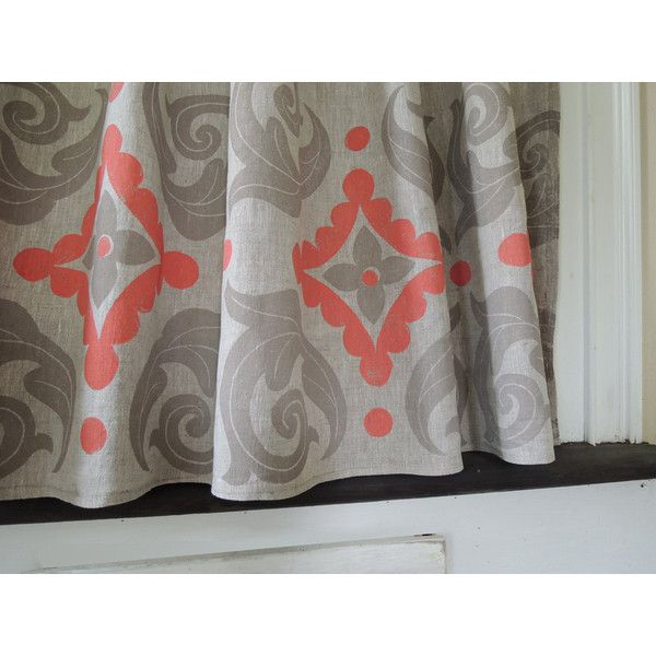 Trades Routes hand block printed moroccan home decor cafe curtain in... ($82) ❤ liked on Polyvore featuring home, home decor, window treatments, curtains, taupe curtains, taupe linen curtains, linen shades, coral curtains and light brown shades