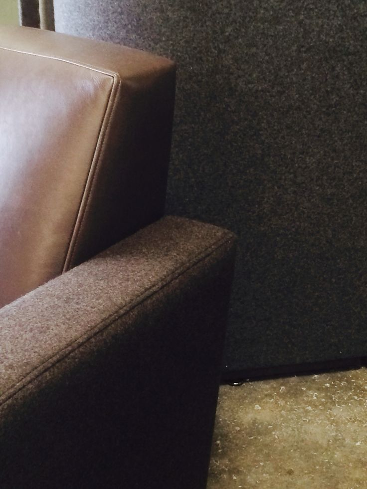 Detail of custom Architect chair in Fabric and leather. Ed Cruikshank 2014
