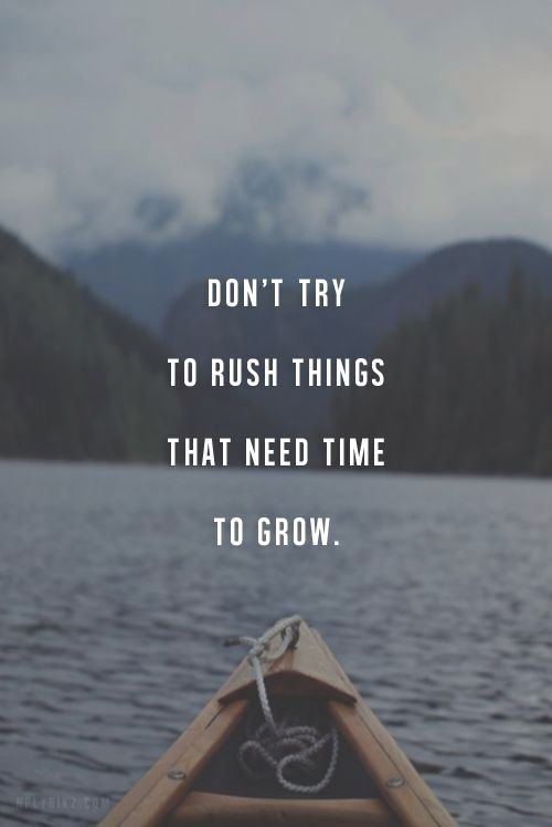 Don't try to rush things that need time to grow, be patience and wait for the outcome.