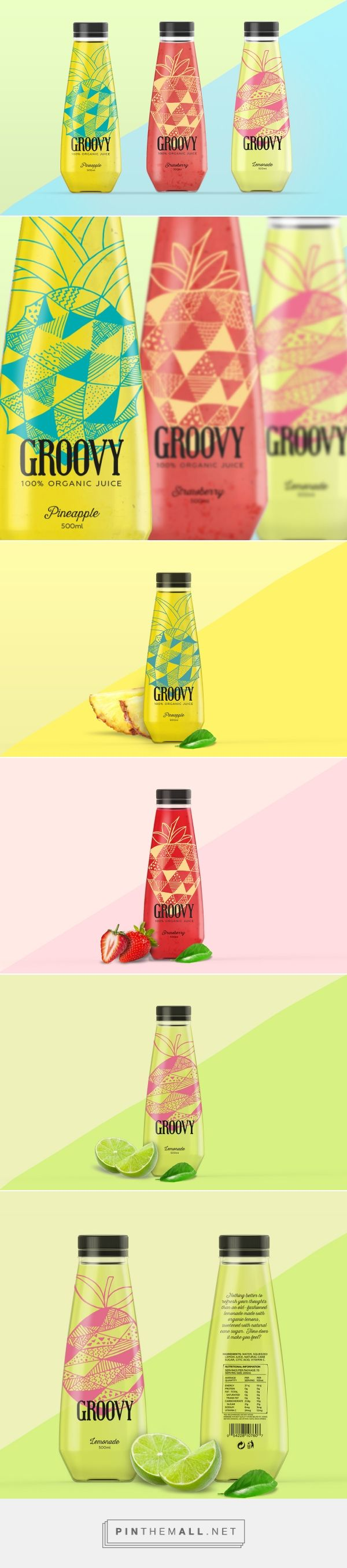 GROOVY - 100% ORGANIC JUICE on Behance student project curated by Packaging Diva PD. Packaging (structural) design and branding for GROOVY 100% organic juice. Fresh and funny for young consumers with a healthy lifestyle.