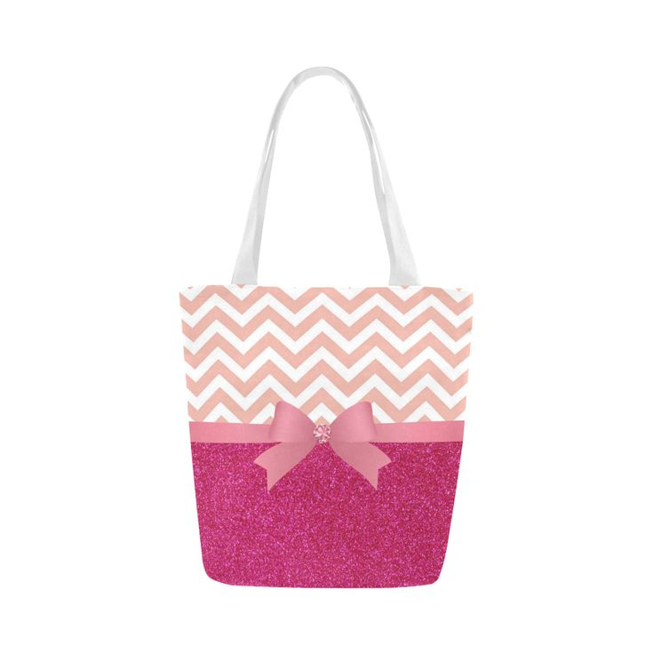 Pink Chevron, Hot Pink Glitter and Bow Canvas Tote Bag (Model 1657)