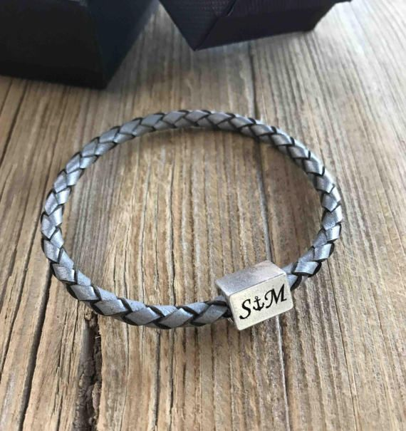 Men's Personalized Bracelet - Men's Engraved Bracelet - Customized Men Bracelet - Men's Initial Bracelet - Men's Persoanalized Gift  The simple and beautiful bracelet combines gray braided leather strip and a silver plated magnetic clasp you can engrave on it initials. Available in black and grey. $58