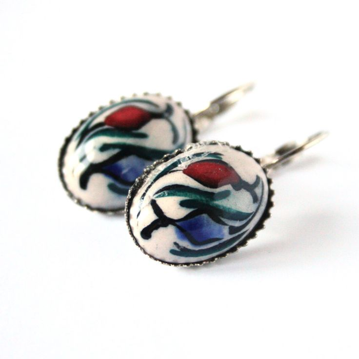 Hand Painted Ottoman Ceramic Earrings
