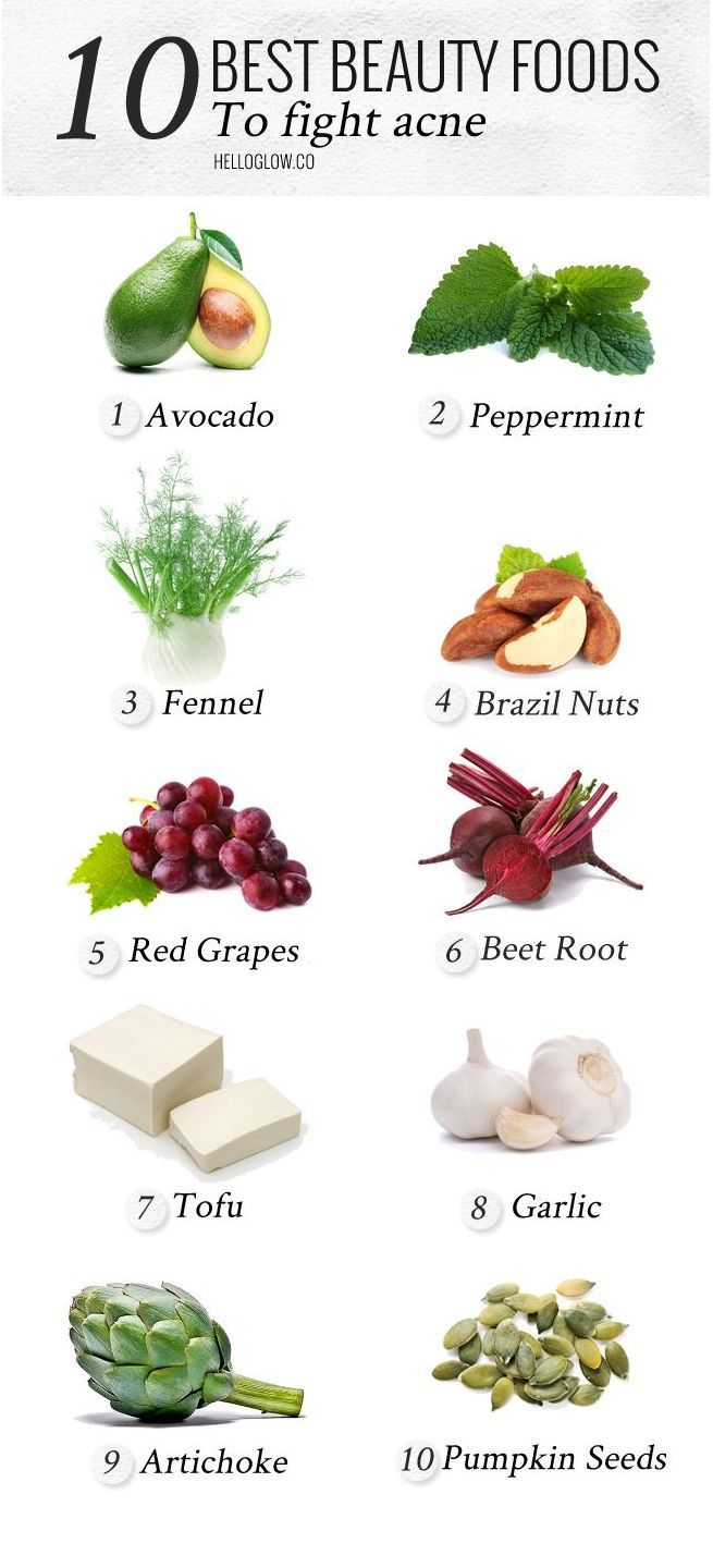 Weight Loss Infographics: 10 best beauty foods to fight acne ‪‎naturalskinc…