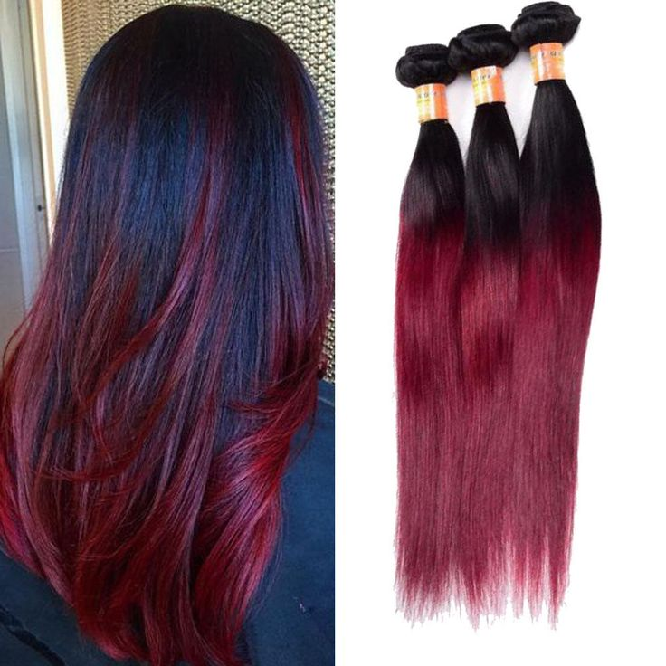 """18""""20""""22"""" 300g Human Hair Extension 1B/99J Straight Hair Weft Weave #Unbranded"""