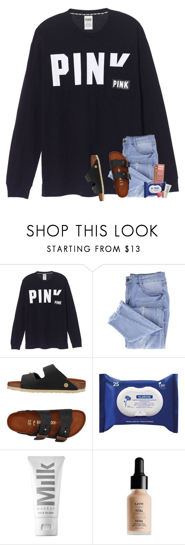 """does your mama know when we kill the lights good guys are not your type?"" by graciegirl2015 ❤ liked on Polyvore featuring Essie, Birkenstock, Urban Decay, Klorane, MILK MAKEUP and NYX"