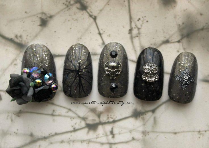 Gothic Nail Art. Lost Byway. Gothic, Fake Nail, 3D Japanese Nail Art, Goth, Gothic Lolita, Press On Nail, Acrylic Nail, False Nail, 3D Nail by NeverTooMuchGlitter on Etsy https://www.etsy.com/listing/235623409/gothic-nail-art-lost-byway-gothic-fake