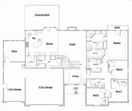 Perfect Great Floor Plan   A One Story   Make The Shop A Fitness Room With A Second  Story Office