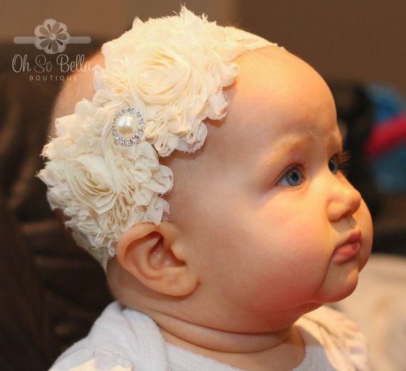 Baptism Headband, Christening Headband, Ivory Headband, Flower Girl Headband, Cake Smash Headband (theohsobellaboutique.etsy.com)