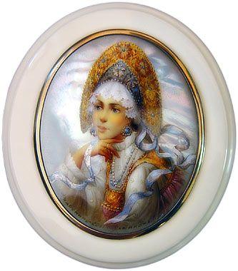 "Luba Pashinina ""Portrait of the girl in Russian costume"""