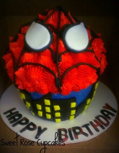 Spiderman Cupcake Images : Spiderman Giant cupcake cake Giant cupcakes....yikes ...