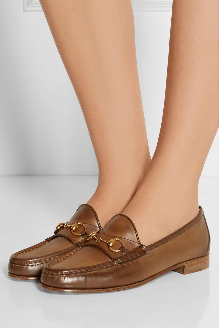 Gucci|Horsebit-detailed burnished leather loafers|NET-A-PORTER.COM