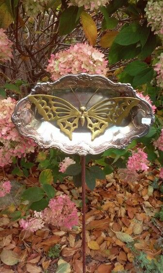 Silver And Brass Garden Stake By Kimber S Garden Gems On