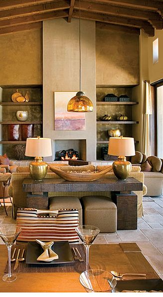 Eclectic Interior With Rustic Elements Table Behind The Sofa Hidden Ottomans