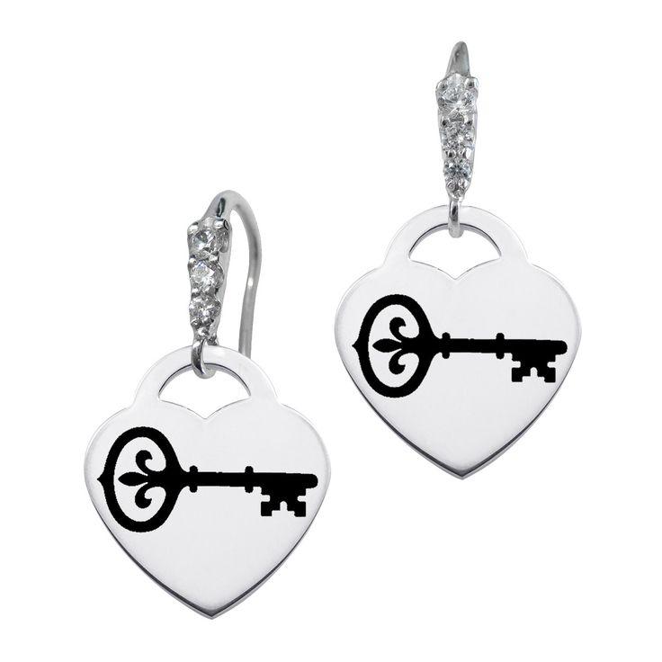 Kappa Kappa Gamma Symbol CZ Cluster Heart Earrings
