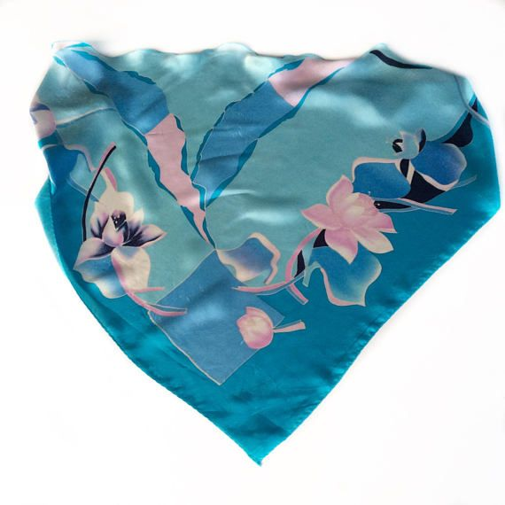Blue Floral Neck Scarf, Birthday Gift for Coworker, Silk Head Scarves for Chemo Treatment, Gift for teacher, Pink Blue Scarf for her by blingscarves. Explore more products on http://blingscarves.etsy.com