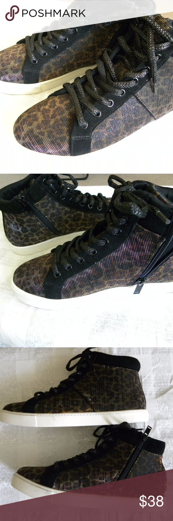 Aldo Women's Sneakers High Top Shiny Animal Print Aldo Women's Sneakers High Top Shiny Animal Print Size 8.5 M lace up and zip up Aldo Shoes Sneakers