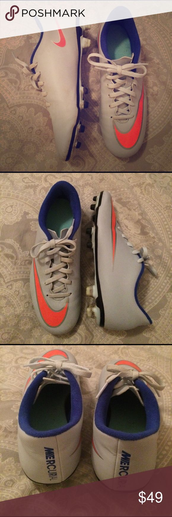 Nike Mercurial Soccer Cleats - size 7 NIKE MERCURIAL VICTORY V FG WM - WOMEN'S soccer cleats - size 7 :: length runs 1/2 size smaller (researched after I put them on) bought online - worn for one 6 hour tournament Nike Shoes Athletic Shoes