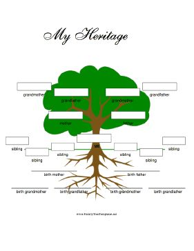 This adoptive family tree for kids includes room for even more family members. The birth parents and grandparents go in the root level and adoptive parents and grandparents go in the branches, as do up to six siblings. Free to download and print