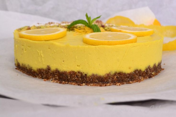 Raw vegan lemon pie - Ωμοφαγική λεμονόπιτα - Veganinathens.com