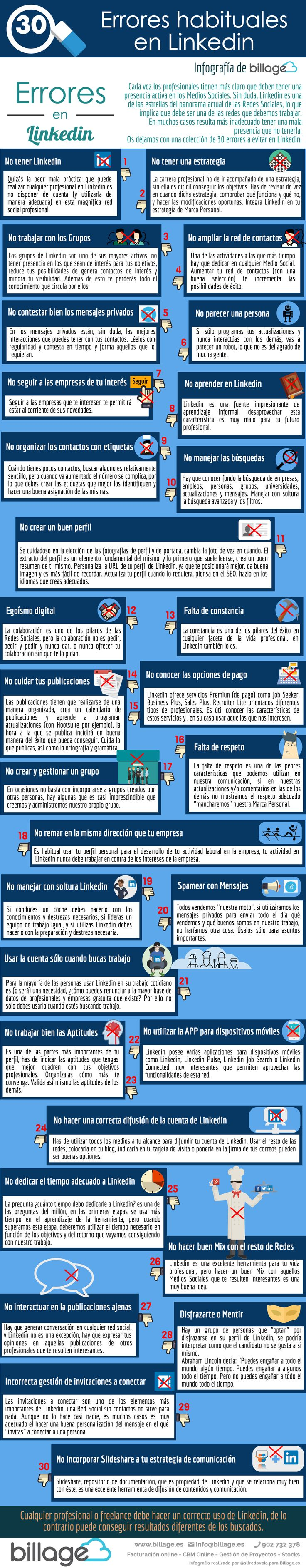 30 errores en Linkedin que no debes cometer #infografia #infographic #socialmedia