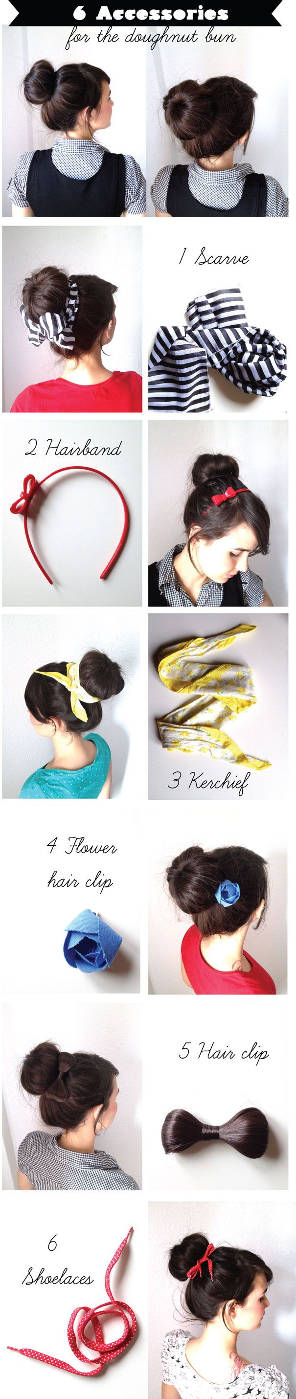accessories for a bun - ive never thought of shoelaces before.