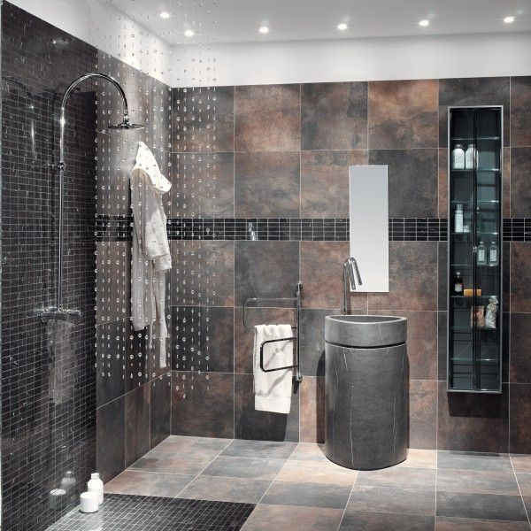 17 best images about contemporary and modern bathrooms on for Slate tile bathroom ideas