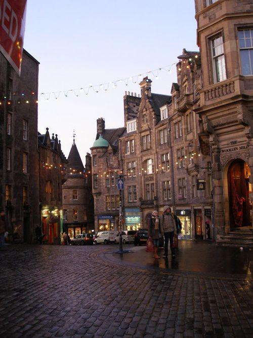 Cobblestone Street in Edinburgh, Scotland